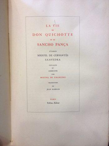 LA VIE DE DON QUICHOTTE ET DE SANCHO PANCA <BR/>Miguel De Unamuno
