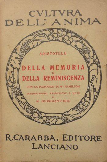 DELLA MEMORIA E DELLA REMINISCIENZA  <BR/>Aristotele