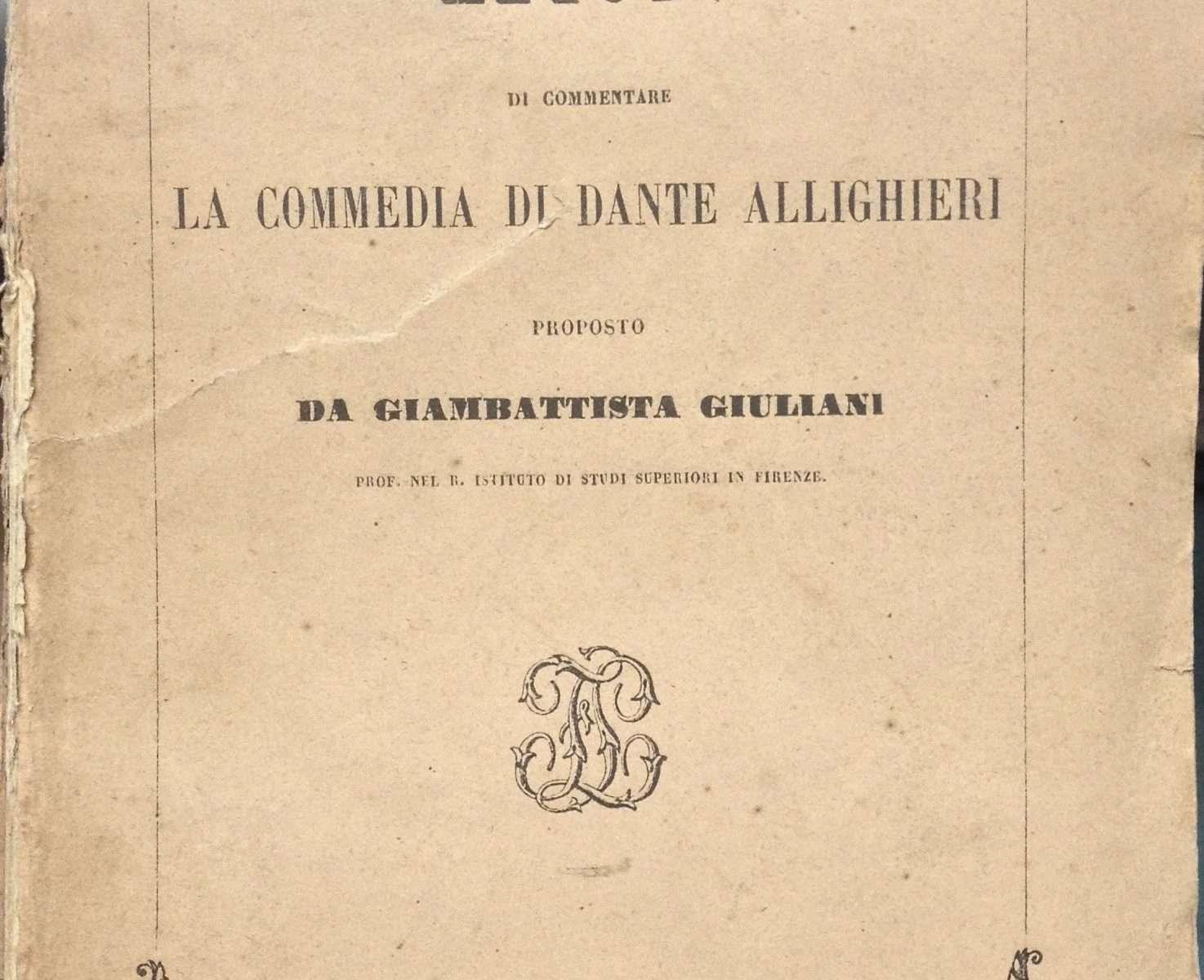 METODO DI COMMENTARE LA COMMEDIA DI DANTE ALLIGHIERI   <BR/>Giambattista Giuliani