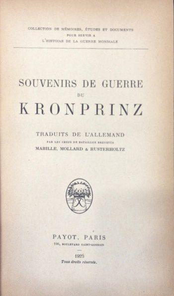 SOUVENIRS DE GUERRE DU KRONPRINZ <BR/>NN