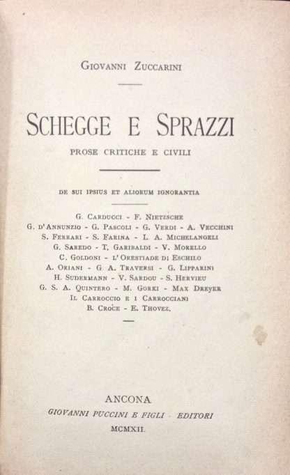 SCHEGGE E SPRAZZI <BR/> Giovanni Zuccarini