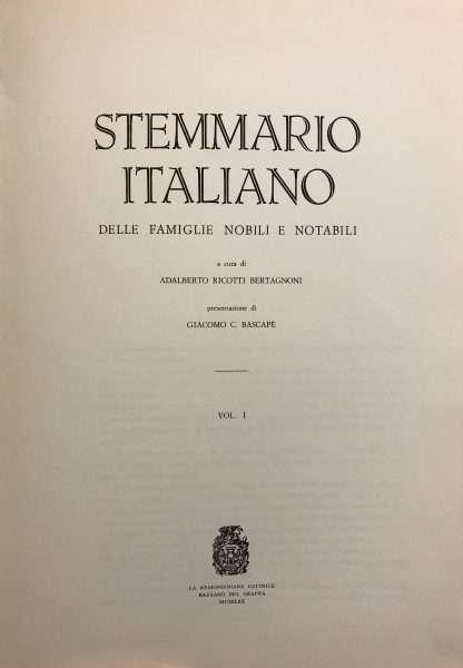 STEMMARIO ITALIANO DELLE FAMIGLIE NOBILI E NOTABILI